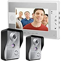 MOUNTAINONE 7 Inch Video Door Phone Doorbell Intercom Kit 2-camera 1-monitor Night Vision SY812MKW21