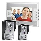 MOUNTAINONE 7 Inch Video Door Phone Doorbell Intercom Kit 2-camera 1-monitor Night Vision SY812MKW21