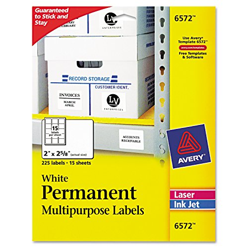 (Avery White Permanent ID Labels for Laser and Inkjet Printers, 2 x 2 5/8 Inch, Pack of 225 (6572) 15 sheets)