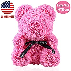 TRUHEMP Rose Flower Bear - Giant 16 Inch Teddy Bear Cub Forever Artificial Rose - Best Gift for Anniversary, Christmas, Birthday & Women's Day Unique with Box (Pink) 23