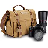 ESDDI Camera Bag, Vintage DSLR Messenger Camera Bag with Removable Insert for Canon Nikon Sony Pentax, Daily Use without Insert, Khaki Brown