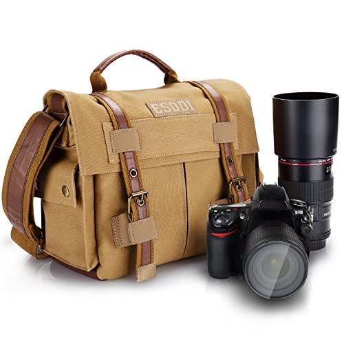 ESDDI Camera Bag, Vintage DSLR Messenger Camera Bag with Removable Insert for Canon Nikon Sony Pentax, Daily Use without Insert, Khaki Brown Professional Gadget Bag