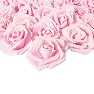 Juvale Rose Flower Heads – 100-Pack Artificial Roses, Perfect Wedding Decorations, Baby Showers, Crafts – Light Pink, 3 x 1.25 x 3 inches