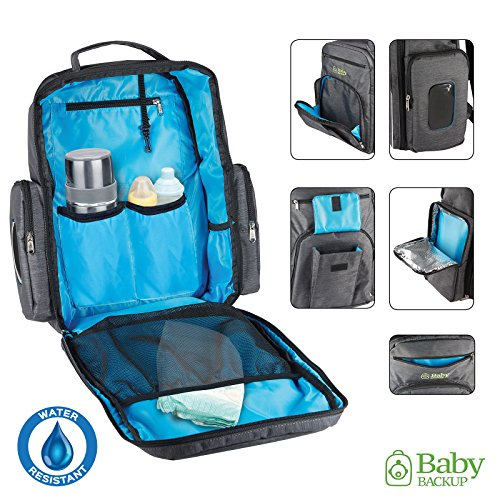 Baby Backup Diaper Bag Backpack – For Boy & Girl – Multi-Function Toddler Bag - Waterproof Nappy Bookbag for Travel –– Baby Bag FREE BONUSES: 2 Net Bags, Changing Pad, Stroller Straps, Pouch – Gray