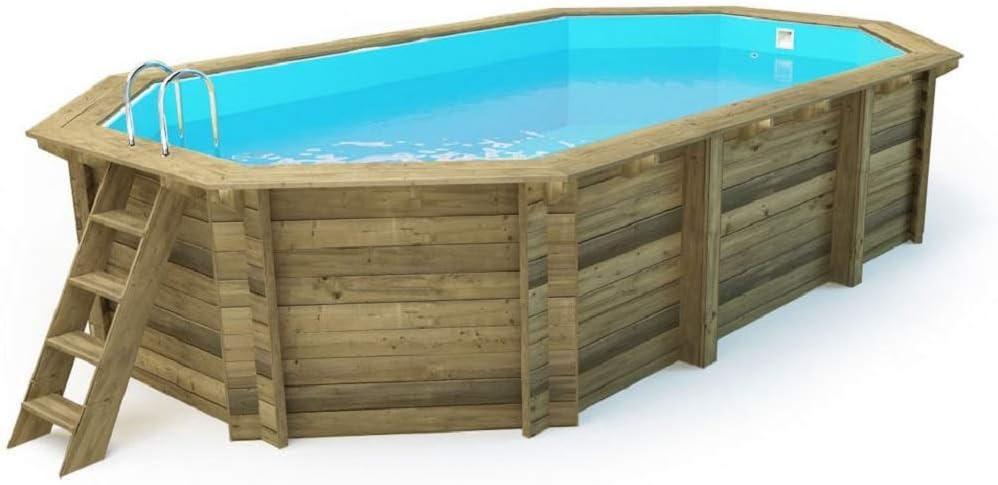 Salón tienda online piscina octogonal de madera impregnada Diámetro 657X407X120H cm