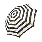 InterestPrint Gold Glitter Nautical Anchors on striped Design 100% Polyester Pongee Windproof Fabric Travel Umbrella, Compact Automatic Open and Close Folding UV and Rain Umbrella