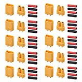 AUTOUTLET 10PCS 10Pairs XT30 Bullet Connectors Plugs Male & Female with Heat Shrink For RC Car/Boat/LiPo Battery