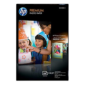 HP Premium Photo Paper, Glossy (100 Sheets, 4 x 6 Inch Borderless)