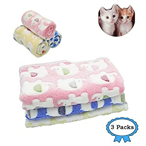 "3 Packs 3 Colors 31"" x 23"" Small Blanket Soft Warm Fleece Throw Blanket Pet Kitten Blanket Fleece Puppy Blanket Cushion Ultra Light Comfortable Soft Warm Sleep Mat"