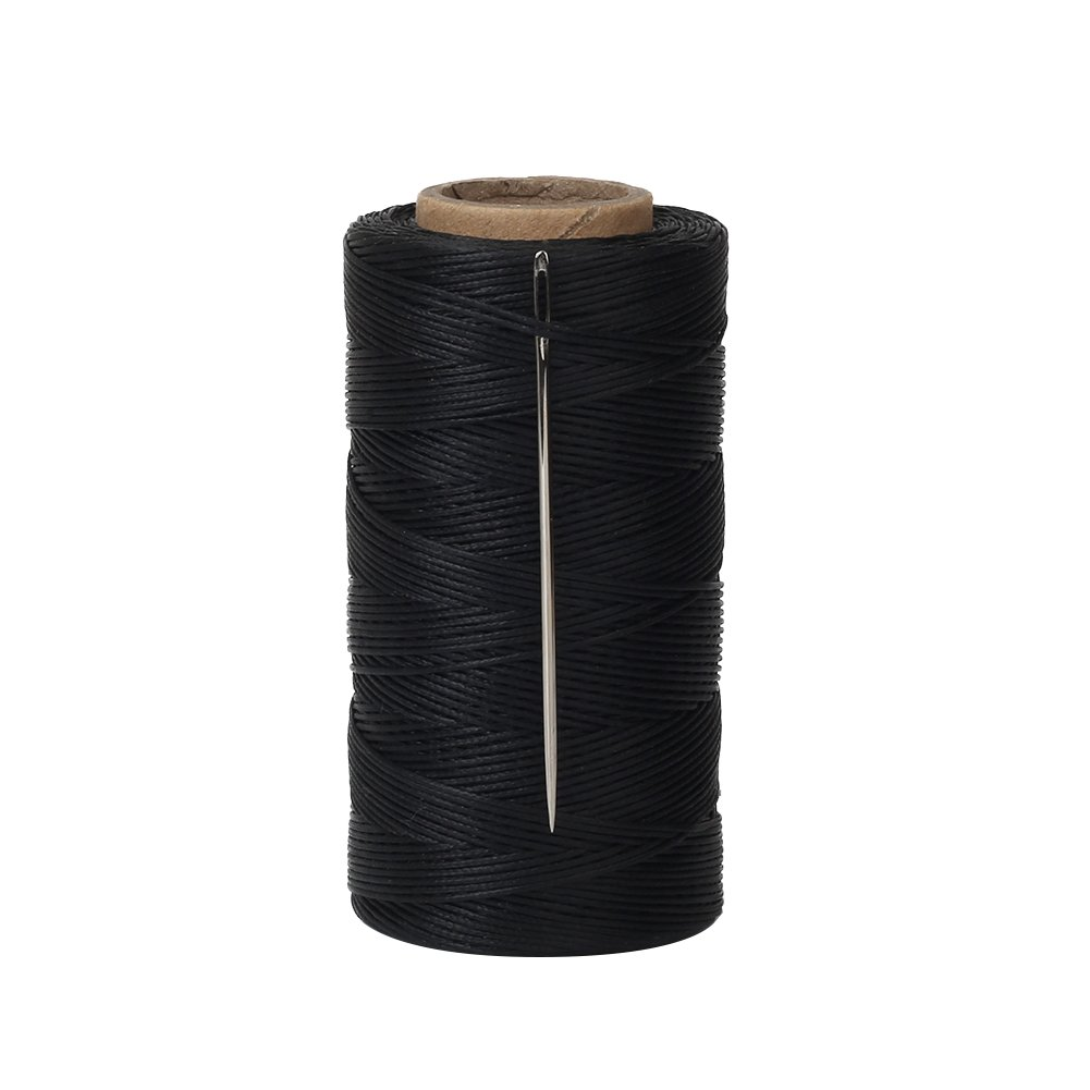 Black 328 Yards 150D 1MM Leather Sewing Waxed Thread with Needles for Leather DIY Project Tenn Well Waxed Thread