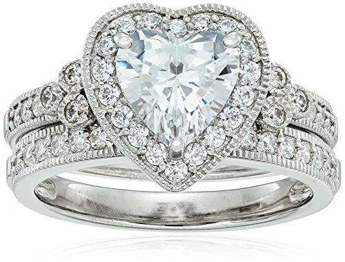 Platinum-Plated Sterling Silver Swarovski Zirconia Heart Antique Ring, Size 8 - Heart Shaped Cubic Zirconia Rings