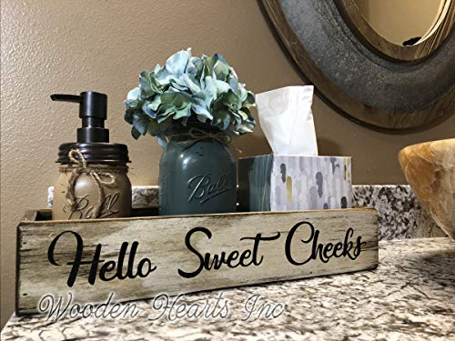 HELLO SWEET CHEEKS BATHROOM TRAY *Quart Ball Mason Canning Jar, Flower, Soap Dispenser are OPTIONAL *NICE BUTT *BLESSINGS Distressed Wood Box *Decor for toilet, counter, kitchen table 15.75