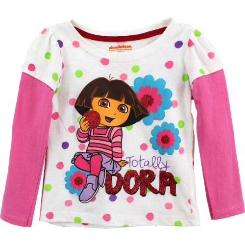 Nickelodeon Little Girls' Dora Dot Long Sleeve Tee, White, 3T