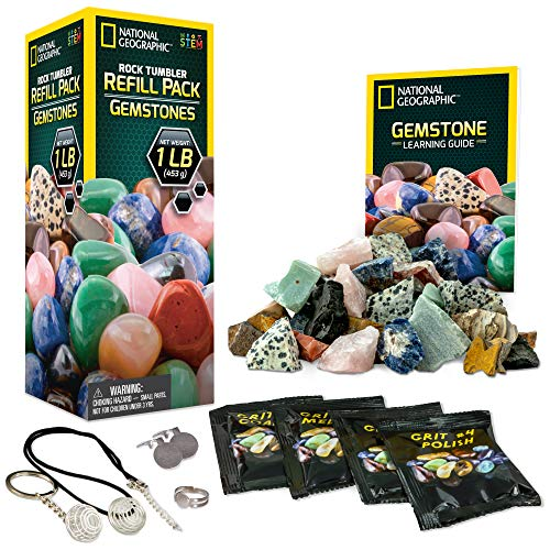 NATIONAL GEOGRAPHIC Rock Tumbler Refill Kit - Gemstone Mix of 9 varieties including Tiger's Eye, Amethyst and Quartz - Comes with 4 grades of Grit, Jewelry Fastenings and detailed Learning Guide (Best Rock Tumbler For Kids)