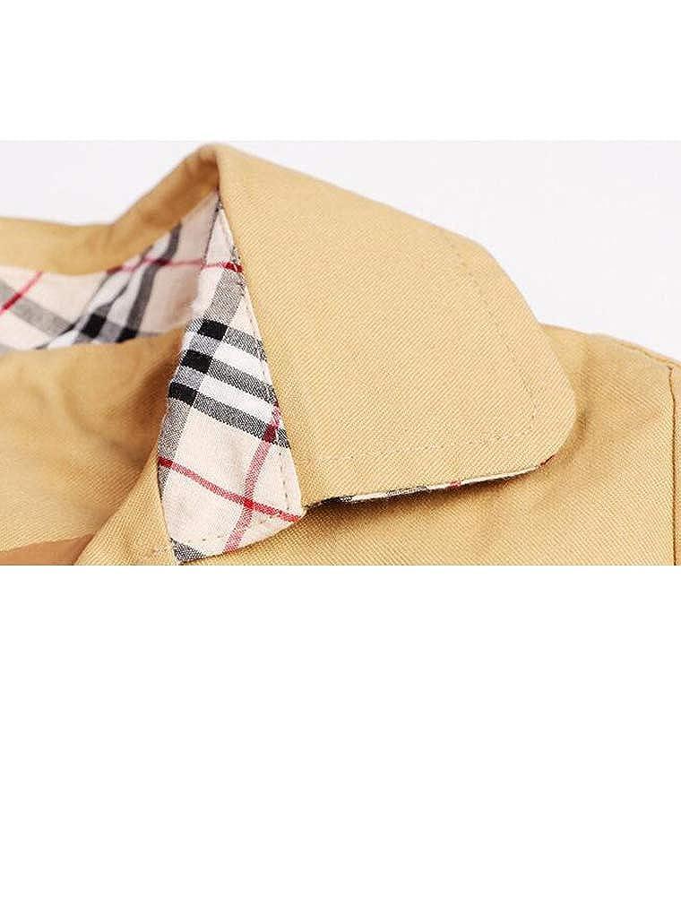 Mallimoda Boys Long Sleeve Trench Coat Zipper Jackets with Belt