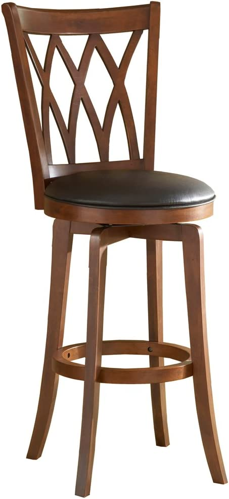 Hillsdale Mansfield 30-Inch Swivel Barstool, Brown finish with Black Vinyl