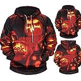 Mens Hoodie,Farjing Casual Scary Halloween Pumpkin 3D Print Party Long Sleeve Hoodie Top Blouse(3XL,Orange)
