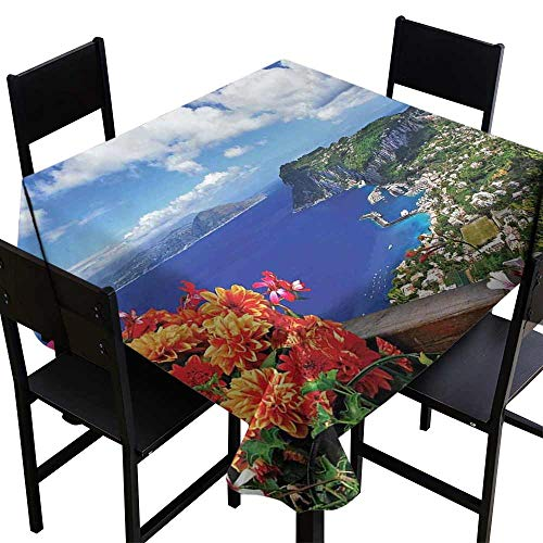 StarsART Party Table Cloth Island,Scenic Capri Island,Italy Mountain Houses Flowers View from Balcony Landmark,Blue Green Orange D50,Round Tablecloth