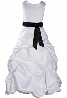 White Bridesmaid Dress Black Sash 6-7 Years
