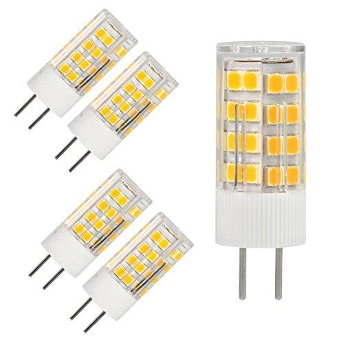 Base LED Light Bulb 5Watt Warm White 2700K-3000K AC DC 12V Silica Gel Crystal Landscape Lighting,Equivalent 40w T4 Halogen Bulbs Non-dimmable (5-Pack) ()