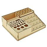 MagiDeal Wood Epoxy Tools Storage Boxes Paint Bottle Brushes Rack Model Organizer #3