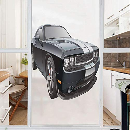 (Decorative Window Film,No Glue Frosted Privacy Film,Stained Glass Door Film,Black Modern Pony Car with White Racing Stripes Coupe Motorized Sport Dragster,for Home & Office,23.6In. by 78.7In Black Gre)