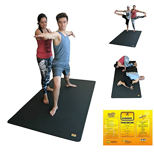 "Large Yoga Mat And Stretching Mat 7ft X 4ft x 7mm Thick (84""x 48"") Anti Tear & Non Slip Exercise Yoga Mat Extra Long 7 ft Memory Foam. Pogamat Yoga Mats For Yoga & Cardio Fitness Mat WITHOUT Shoes"