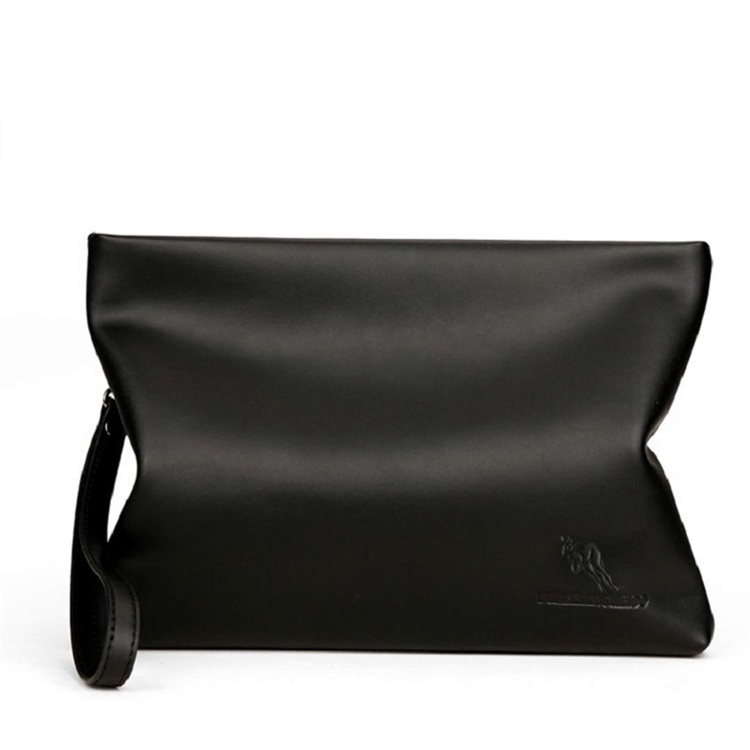 SaoLangtame Men Clutch Bag Business Soft Leather Black Large Capacity Cell Phone Purse