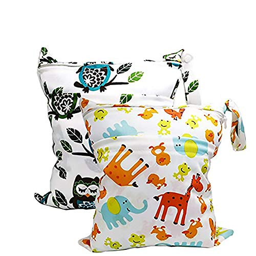 BESEGO 2Pcs Baby Wet and Dry Cloth Diaper Bags, Nappy Organizer Bag, Multipurpose Travel Packing Organizer Bags for Swimsuit, Underwear, Breast Pump with 2 Zippered Pockets, Washable & Reusable
