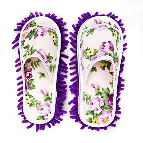 WSSROGY 1 Pair Microfiber Flower Slipper Cleaning Mop Washable Detachable House Shoe Cover Dust Floor Cleaner for Bathroom Office Kitchen, Purple