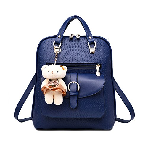 Women Backpack,PU Shoulder Bag, Cute Satchel Knapsack For Teenagers Girls With Bear Key Chain Blue by TOOFREE®