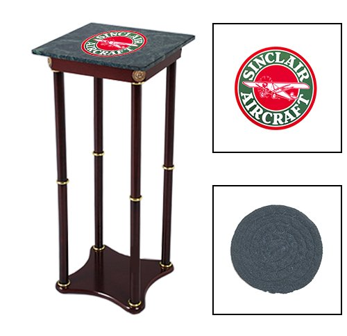 Square Green Marble Top Accent Table Featuring the Choice of Your Favorite Vintage Gas Themed Logo on the Top Shelf! FREE Coaster Included! (Sinclair Aircraft)