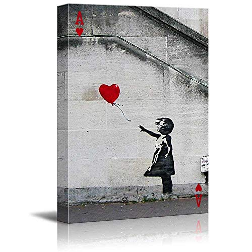 """Poker Cards Canvas Wall Art - Hearts Ace - Banksy Girl with Red Heart Shaped Balloon(There is Always Hope) - Gallery Wrap Modern ArtworkFramed - 16"""" x 20"""" inches"""