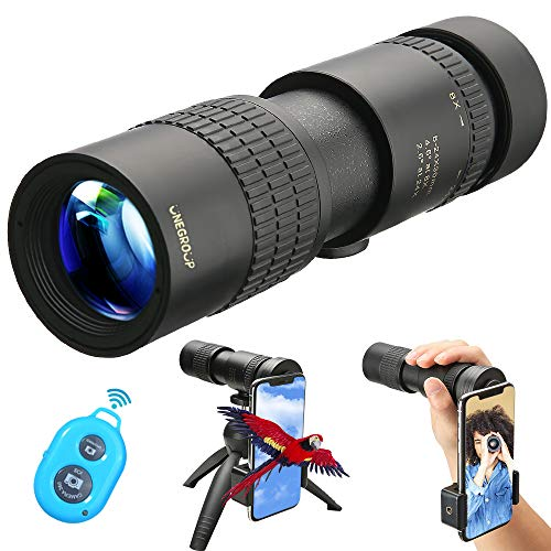 UNEGROUP High Power Monocular Telescope, HD Low Night Vision Waterproof Compact Spotting Scope with Smartphone Holder, Wireless Control & Tripod - FMC BAK4 Prism for Bird Watching, Camping, Hiking