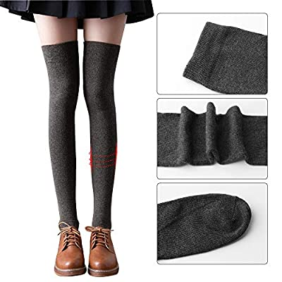ONESING 4 Pairs Thigh High Socks Over Knee Thigh Socks Leg Warmer Cotton Boot Stockings for Girls Women at  Women's Clothing store