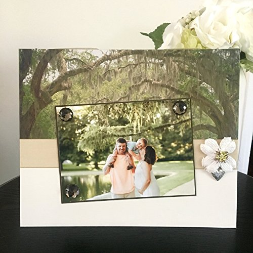 "Southern Charm Travel Family rustic vintage nature vacation gift handmade magnetic picture frame holds 5"" x 7"" photo 9"" x 11"" (Travel Photo Charm)"