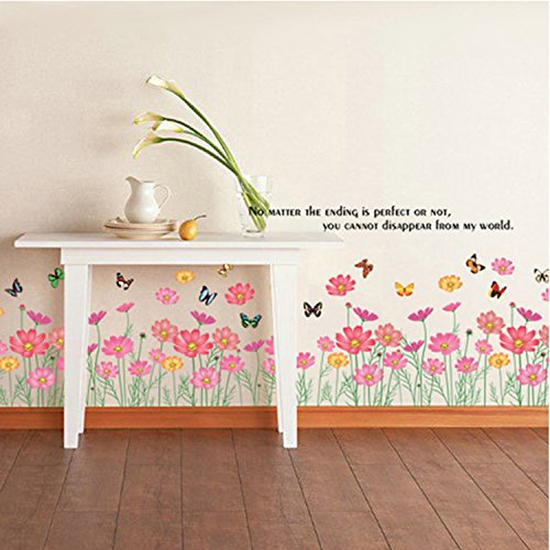 GoldenCart Wall Border Decal I Large Garden Fence I Pink Butterfly Wall Decorations with a Beautiful Quote I Garden Border Wall I Butterfly Wall Art I Butterflies Wall Decor (Vinyl, ()