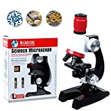 Homa Kids Microscope & Beginner Microscope Kit LED 100x, 400x, And 1200x Magnification Kids Science Toys,Red