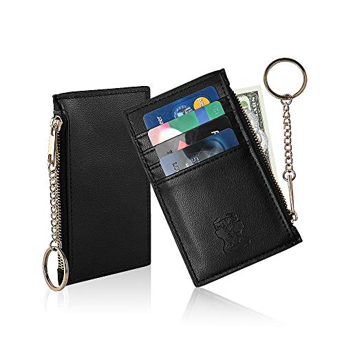 Credit Card Holder Wallet With Keyring Keychain Leather Zip Coin Change Cash Purse Card Case, Credit card wallet Front Pocket For Men Women