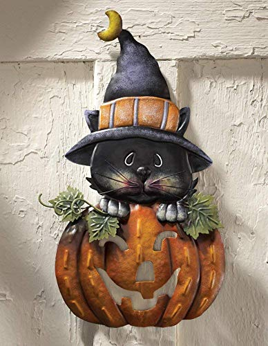 CT DISCOUNT STORE Cute Witch Cat Peek-Out from Pumpkin Outdoor Halloween Decor -