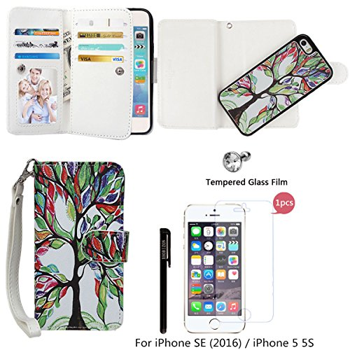 xhorizon TM FLK Premium Leather Folio Wallet Magnetic Detachable Wristlet Purse Card Slots Case for iPhone 5 5S / iPhone SE (2016) with a 9H Tempered Glass Film ()