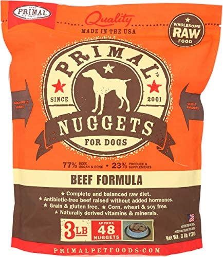 Primal Pet Foods 850001 Canine Beef Nuggets, 3-Pound