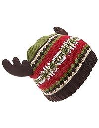 Floso Childrens/Kids Fairisle Moose Winter Beanie Hat With Antlers