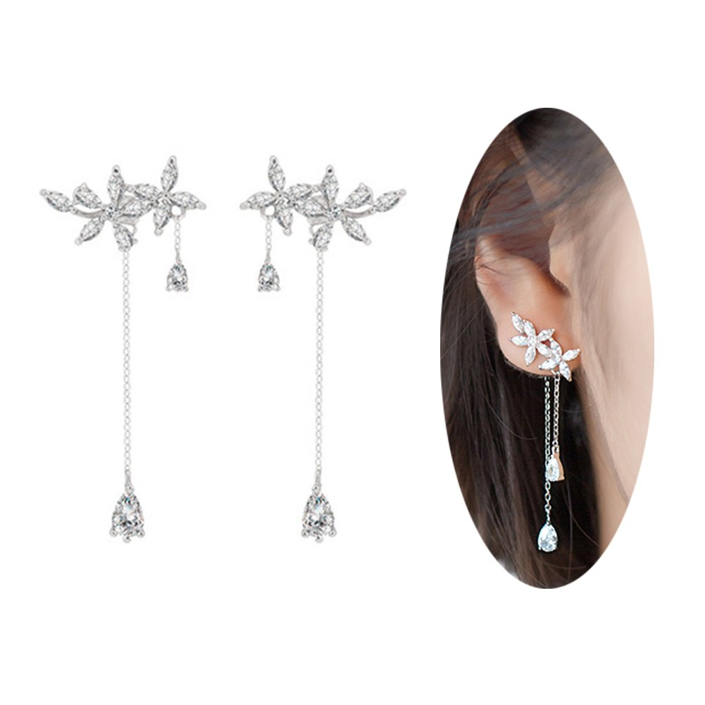 FarryDream 925 Sterling Silver Leaves Wrap Earrings Crawler for Women Dainty Flowers Threader Tassel Chain