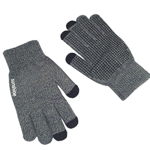 [Veenajo Mens Womens Knit Three Touchscreen Fingers Gloves Warm Cold Weather Gloves (Gray)] (Childrens Dressing Up Knights Outfit)