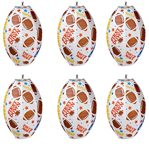 Football Paper Lanterns - 6-Pack Football Shaped Decorative Hanging Paper Lantern, Football Sayings Design, Game Day Party Decorations, Sports Theme Party Supplies, White, 7.5 Inches Diameter