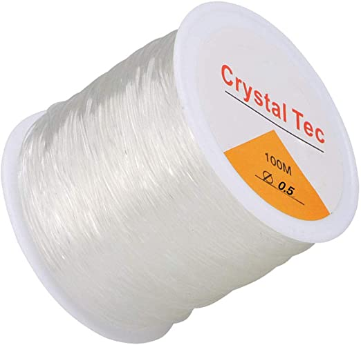 1 Roll 20m Clear Roll Elastic Stretch Thread 0.5mm Beading String Kids Craft