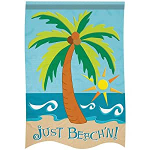 Large Size Applique Flag, Just Beach'n, 29 X 42 Inches