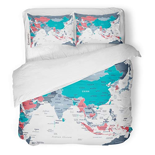 Emvency Decor Duvet Cover Set Full/Queen Size Blue Burma Southern Asia Map Detailed Gray Australia Cambodia Capital Cities 3 Piece Brushed Microfiber Fabric Print Bedding Set Cover
