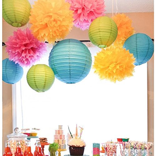 SUNBEAUTY Pack of 11 Mixed Royal Blue Green Paper Lanterns Tissue Paper Pom Pom Flowers for Party Wedding Valentines Nursery Hanging Decor